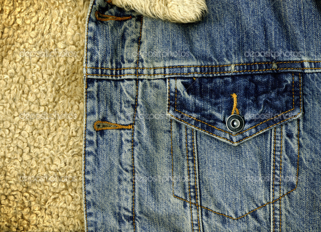 Denim Jacket Pocket Detail with Sheep Skin Texture — Stock Photo #2797960