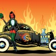 Royalty-Free Stock Vector Image: Hotrod To Hell kustom culture style pin