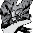 American eagle with banner vector illust - Stok Vektr