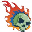 Royalty-Free Stock Vector Image: Flaming skull tattoo style vector illust