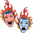 Flaming happy and sad theatre masks illu — Stock Vector