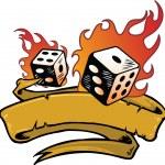 Flaming dice banner vector illustration — Stock Vector #2792681