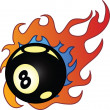 Flaming Eightball vector illustration — Stock Vector