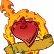 Flamming Heart Tattoo Style Vector With — Stock Vector