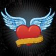 Heart with wings and banner vector illus - Stockvectorbeeld