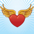 Heart with wings vector illustration — Stock Vector