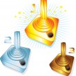 Gold Silver and Bronze gamers joysticks — Stock Vector