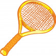 Gold tennis racket illustration — Stock Vector