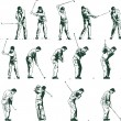 las etapas de swing de golf vector illustration — Vector de stock  #2792932