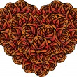 Heart shape bunch of roses for Valentine — Image vectorielle