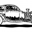Vintage style Hotrod car illustration - Stock Vector
