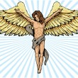 Male angel in a crucifix pose vector ill — Stock Vector