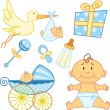Stock Vector: Cute New born baby graphic elements.