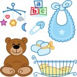 Cute New born baby toys graphic elements - Stock Vector