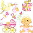 Cute New born baby girl graphic elements — Stockvectorbeeld