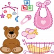 Royalty-Free Stock Vector Image: Cute New born baby girl toys graphic ele