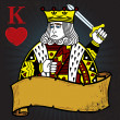 King of Hearts with banner tattoo style — Stock Vector