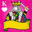 Colorful King of Hearts with banner illu — Stock Vector