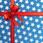 American flag ribbon and bow vector illu — Stock Vector