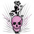 Skull and roses Vector illustration — Stockvektor