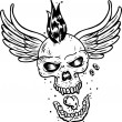 Stock Vector: Punk tattoo style skull with wings