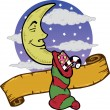 Royalty-Free Stock Векторное изображение: Moon at Christmas with a stocking full o
