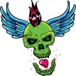 Punk tattoo style skull with wings - Stock Vector
