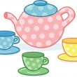 cute classic style tea pot and cups illu — Stock Vector