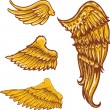 Tattoo style vector wings illustrations - Stock Vector