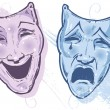Theatre Masks Happy And Sad, Laugh And C — Stock Vector