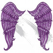 Hand drawn tattoo style wings converted - Stock Vector