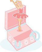 Cute ballerina jewelry box illustration — Stock Vector