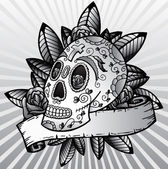 Day of the dead festival skull vector il — Stock Vector