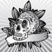 Day of the dead festival skull vector il — Stock Vector