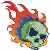 Flaming skull tattoo style vector illust — Stock Vector