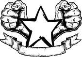 Heavy Metal Rock Banner Tattoo — Stock Vector