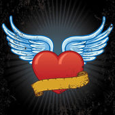Heart with wings and banner vector illus — Stockvector