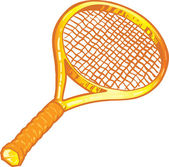 Gold tennis racket illustration — Stock Vector