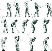 Golf swing arrangerar vektor illustration — Stockvektor