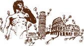 Italian Landmarks illustration including — Stock Vector