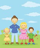 Happy family stick figure style illustra — Stock Vector