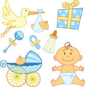 Schattig pasgeboren baby grafische elementen. — Stockvector