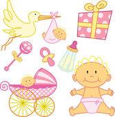 Schattig pasgeboren baby meisje grafische elementen — Stockvector