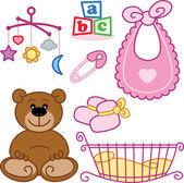 Cute New born baby girl toys graphic ele — Stock Vector