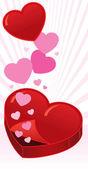 Open heart shaped box vector illustratio — Stock Vector