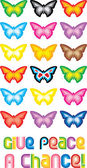Peace Butterfly Symbol - Give peace a ch — Wektor stockowy