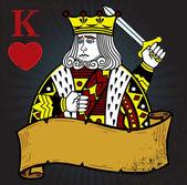 Koning van harten met banner tatoeage stijl — Stockvector