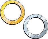 Gold Silver Frames - Ships Porthole — Stock Vector