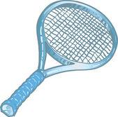 Silver tennis racket illustration — Stock Vector