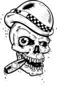 Punk tattoo style skull with wings smoki — Stock Vector